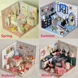 Wholesale Wooden Furniture For Children - Wholesale- New 4 Styles DIY Handmake Dollhouse Wooden Lighting House Miniature Kit Furniture Living Room Kid Gift Toy For Children