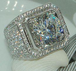 Wholesale Topaz Gemstone Men Rings - hot Stunning Handmade Fashion Jewelry 925 Sterling Silver Popular Round Cut White Topaz CZ Diamond Full Gemstones Men Wedding Band Ring Gift