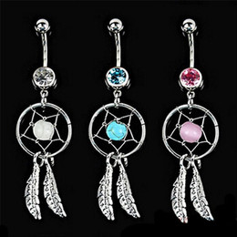 Wholesale gem belly button rings - 3 Colors Crystal Gem Dream Catcher Feather Chain Navel Dangle Belly Barbell Button Bar Ring Body Art Bar G92L
