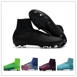2018 venta caliente Mercurial Superfly FG CR7 501 zapatos de fútbol Ronaldo High Tobillo zapatillas de deporte de fútbol de entrenamiento mundial tamaño 39-45 desde fabricantes