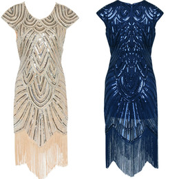 Wholesale Great Dresses - 2017 Summer Vintage 1920s Flapper Great Gatsby Sequin Fringe Party Dress Plus Size Mesh Dress Women Clothing Vestidos De Fiesta