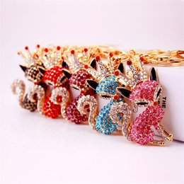 Wholesale ornament hangers - Cartoon Key Chain Lovely Crown Fox Small Keys Buckle Car Pendant Ring Packet Hanger Originality New Product Ornaments 8kx cc