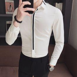 2019 mens formales hemd schlank Männer Shirt Langarm Slim Fit Patchwork Mens Dress Shirts Formale Hemden Designs Camisa Social Masculina Männer Business Shirt rabatt mens formales hemd schlank