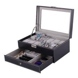 Wholesale fedex jewelry - FANALA Watch Box PU Leather 12 Grid Box Watch Display Wood Jewelry Storage Holder Organizer Case boite montre DHL or Fedex