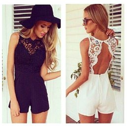 5f9ef8825c0 Black White Lace Crochet Rompers Women Summer Clothes Sleeveless Jumpsuits  Ladies Sexy Backless Bodycon Bodysuit Beach Wear XS