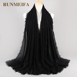 18755863b14 2019 écharpes à sequins RUNMEIFA Lumière Rides Hijab Pour Femmes Coton Foulard  Avec Sequin Femme Étoilé