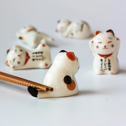 Gatti fortunati in ceramica online-Set di bacchette in ceramica per gatti Lucky cat