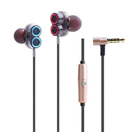 hd earphones UK - New style double loudspeaker design wired control bass stereo sport music denoise HD call HIFI Tone quality transparent cavity earphone