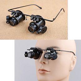 Argentina 10X Reparación de relojes de joyero Lupa con lentes estilo lupa lente con luz LED Envío gratis cheap glasses lens repair Suministro