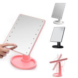 2019 isolierfolienpapier 22 LED-Licht Make-up-Spiegel Make-up-LED-Spiegel 360-Grad-Drehung Touchscreen Make-up Kosmetik Falten tragbare kompakte Tasche