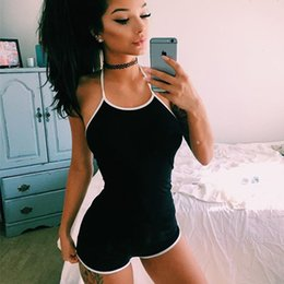 Wholesale Sexy Elastic Jumpsuits - Women Sexy Black Bodycon Playsuit Backless Short Jumpsuit Tumblr 2018 Fashion Summer Female Cotton Camisole Elastic Bodysuit