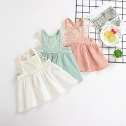 Wholesale little girl suspender style - Kids Boutique Clothing Summer 1-6Year Old Little Girls Dress Lace Design Ruffled Backless Sundress Hot Sales