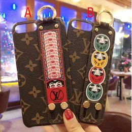 Wholesale Iphone Straps - for iPhone7 6 6S 7plus Case for iPhoneX 8 8plus Matte Print Face pattern Phone CaseLuxury Brand cover shell Wrist strap