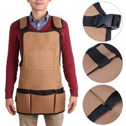 Wholesale Cheap Garden Tools - Cheap cloth Multifunction Solid Coffee Oxford Cloth Kitchen with Pockets for Garden Storage Pockets Tool Adjustable Apron 60 x 58cm