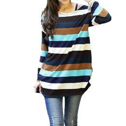 2019 свитер k 2017 корейский моды женщин громоздкая свитер 2017 Осень полосатый вязаный тянуть Femme K-pop с длинным рукавом пуловер топ плюс размер перемычки дешево свитер k