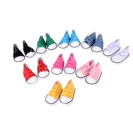 Wholesale Wholesale 18 Inch Doll Accessories - Cute Doll Shoes For 18 Inch Baby Born Doll Handmade Sneakers American Girl Accessories Denim Canvas Mini Toy Shoes 9 Colors