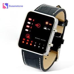 Wholesale Led Binary Watch Fashion - Fashion Brand Men's Digital Red LED Sport Wrist Watch Binary Sports Wristwatch PU Leather Women Mens Relogio Masculino Hours