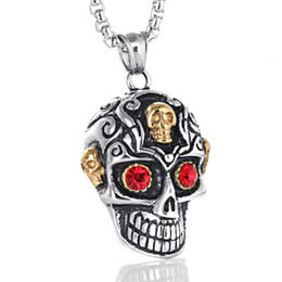 Wholesale Ghost Pendants - Good quality mens necklace Titanium Steel Ghost pendant necklace Gothic punk jewelry skull necklace