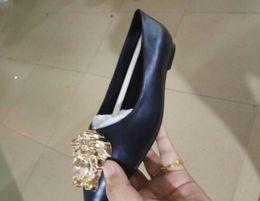 Wholesale Gold Head Dress - 2018 Women Genuine Leather Flats Lady Fashion Gold Head Shoes