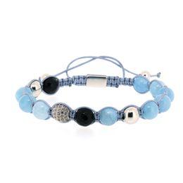 projetos do bracelete do macrame Desconto Projeto Céu Azul Preto Onyx Pedra Talão com Cor Prata CZ Zircon Nó de Cobre Charme Ajustável Trança Macrame Pulseira Para O Homem