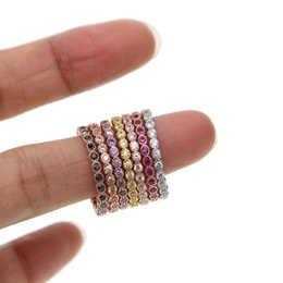 gold silver mix design ring Promo Codes - 100% 925 sterling silver 7 color stack stackable fashion girl women design jewelry birthstone rose gold silver mix color cz ring