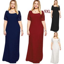 Kurzarm Lace Kleider Sexy Fett Damen Lace Elegant Abendkleid Maxi Kleid Volle Spitze Bodenlangen Party Lose Rock XL-9XL von Fabrikanten