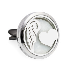 Wholesale Rose Aroma - Heart with wing & Rose Aroma locket Essential Oil Car Diffuser Locket air Fresh Vent Clip Pendant Perfume locket Magnetic Randomly 10 Pads