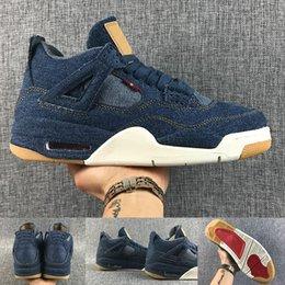 Wholesale Newest Designer Sneakers - (Original Box) 2018 Newest retro 4 IV denim sail game red AO2571-401 mens basketball shoes top quality Mens Sport shoes 4S designer Sneakers