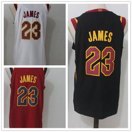 Wholesale mens shirt red - 23 LeBron James Men's Basketball Jerseys 2018 New season Fashion Player version Mens polo shirt White Red Black