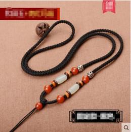 Hetian blanc jade pendentif cordon cordon tricoté à la main corde hommes et dames or pendentif pendentif corde ? partir de fabricateur