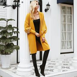 Simplee Elegant lantern sleeve long cardigan Autumn winter 2018 casual  women cardigan Sequin fashion female jumper outwear coat D18103106 90edcd656db3