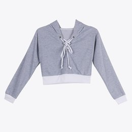 Wholesale Baggy Hoodies - New Oversized Hoodies Women Lace Up Hoodie Shirt Baggy Jumper Pullover Hooded Sweatshirt Cropped Shirts
