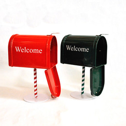 Wholesale Newspaper Letters - British Style Retro Manual Tin Mailbox 1PC Creative Red Green Newspaper Letter Mail Post Storage Box Home Decoration