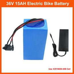 Wholesale 36v Battery For Bicycle - 36V 500W Electric Bike battery 36V 15AH Lithium Bicycle battery Use for samsung 30B cell with PVC case 15A BMS 42V 2A charger