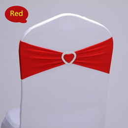 Wholesale Wholesale Plastic Chair - spandex chair band with plastic buckle for wedding decoration lycra cover chair bands elastic chair band