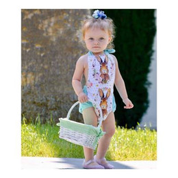 Wholesale Totoro Girl - 2018 Newborn Baby Boy Girl Halter Romper Clothes Sleeveless Floral Totoro Playsuit Jumpsuit Outfit Sunsuit