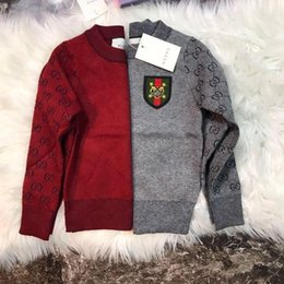 Wholesale children red pullover sweater - 2d79 2018ins Autumn And Winter Sweater Pure Cotton Round Neck Sweater Children clothes