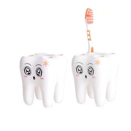 Wholesale Tooth Brush Toothpaste - 1pc Teeth Shape Toothpaste Holder, tooth brush holder, Cartoon Toothpaster Contaniner, Bath Accessories, porte brosse a dent
