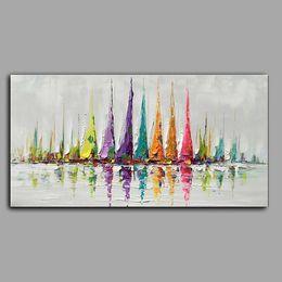 Pittura a olio handmade della barca a vela Pittura a olio astratta Spatola per pallet Spessa arte tela Decorazione della casa da