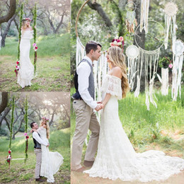Wholesale Best Off Shoulders Dresses - 2016 Mermaid Bohemia Wedding Dresses Off Shoulder Full Lace Applique Wedding Gowns Sweep Train Half Sleeve Vintage Best Selling Bridal Dress