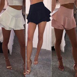 Wholesale high waisted mini skirts - Summer Women Layered Ruffled Frill Skorts High Waisted Party Mini Skirt Shorts Ladies Womens Brief Solid Skirts Clothing