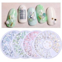 Nail art designs bleu blanc en Ligne-3D Nail Art Décoration Fond Plat Nail Strass Rose Bleu Blanc Cristal Pierres Art Outils De Conception DIY