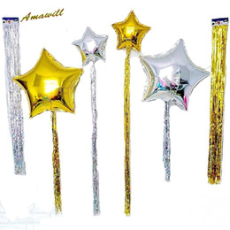 Wholesale Dark Blue Balloons - Amawill 10pcs Gold Foil Fringe Tinsel Balloons Tassel Garlands Wedding Photography Backdrop Birthday Party Decoration Balloon 8D