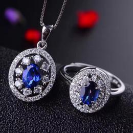 имитация прозрачный браслет Скидка MeiBaPJ 925 Pure Silver Jewelry Set Natural Tanzania Blue Topaz Necklace and Ring Fine Party Jewelry for Women