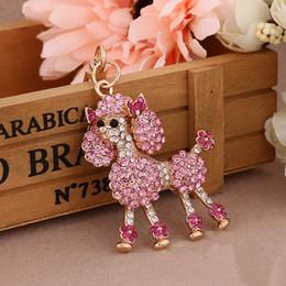 Wholesale Dog Ring Fashion - 2018 New Crystal Poodle Keychain Keyring Lovely Animal Key Chains Fashion Rhinestone Dog Key Rings Novelty Items Women Bag Charm Dreamway