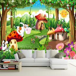 fond d'image pour enfants Promotion Personnalisé 3D Photo Papier Peint Enfants Chambre Chambre De Bande Dessinée Forêt Maison Fond Décoration Peinture Murale Papel De Parede