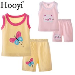 Wholesale singlets girls - Hooyi Baby Girls Clothes Sets Summer Children 2-Pieces Suit Newborn T-Shirts Shorts Pant Boys Tank Top Singlet 100% Cotton Vest