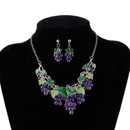 2019 серьги из винограда Women Ladies Grape Short Clavicle Chain Necklace Earrings Trendy Jewelry Sets дешево серьги из винограда
