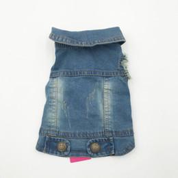 Chaleco azul arriba online-Fiesta de cumpleaños Summer Puppy Dog Vest Denim Jacket Costume Top Fashion Jeans Ropa para perros grandes y pequeños -Azul -Xs -Xxl