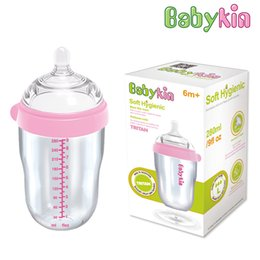 Wholesale Big Baby Bottles - Babykin Tritan Breast Tactility Feeder 280ML(9fI oz) Big Mouth Silicone Baby Bottle with Handle Simulation of Nipple Design
